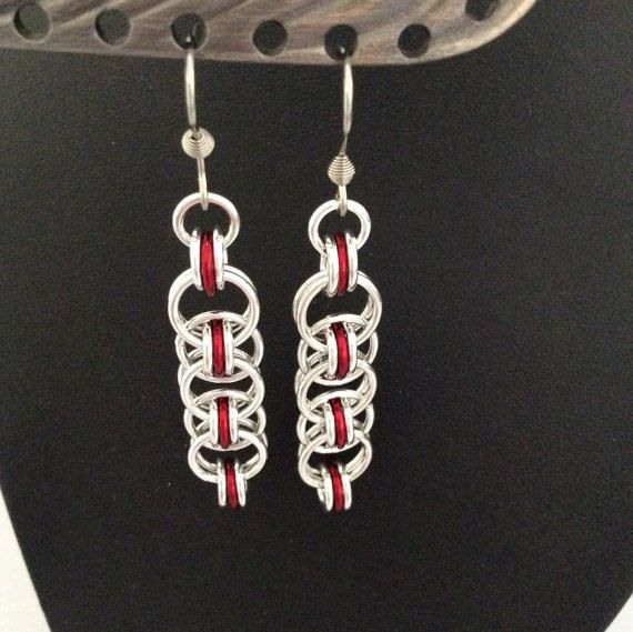 Helm weave earrings in silver and red by DragonTearDesigns on Etsy