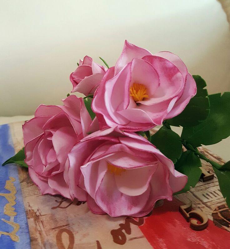 Wild roses  Букет шиповника (фоамиран,пастель)