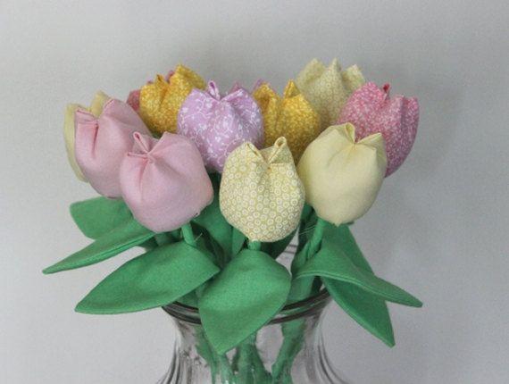 Fabric flowers bouquet. Anniversary cotton flowers, Fabric tulips bouquet. Pink yellow fabric bouquet. Birthday bouquet, get well flowers