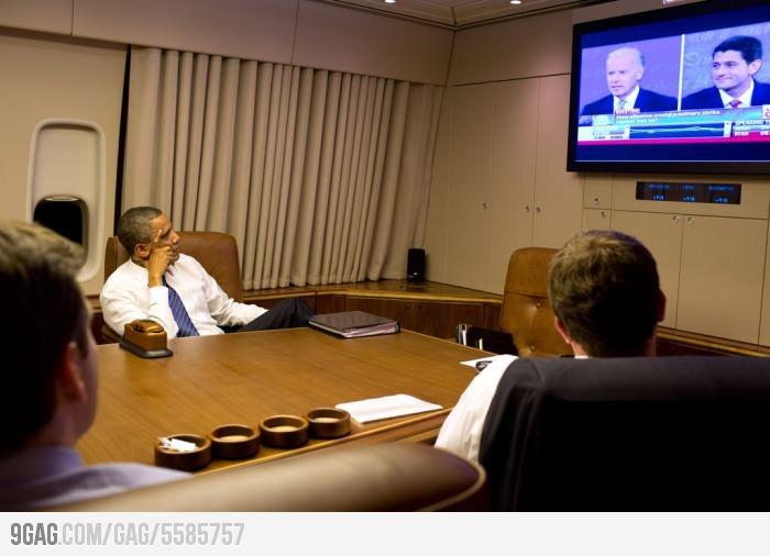 President Obama watching the Vice-President Debate