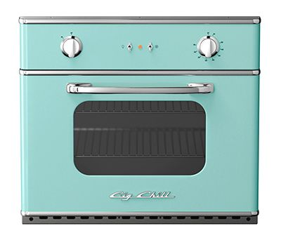 """30"""" electric wall oven by Big Chill in turquoise"""