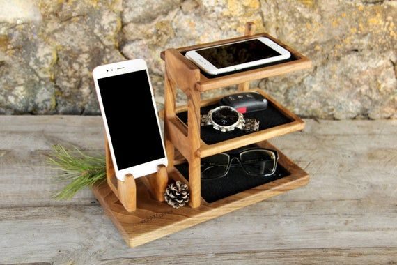 Personalized Wooden Organizer For Phone Wood Desk Office Tidy Etsy Phone Gift Wooden Organizer Wood Phone Stand