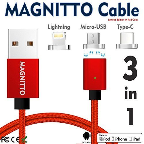 #marineelectronics MAGNITTO 3 in 1 Magnetic Lighting USB Charging and Data Transmission Cable Type C Nylon Braided Sync Cord with High…
