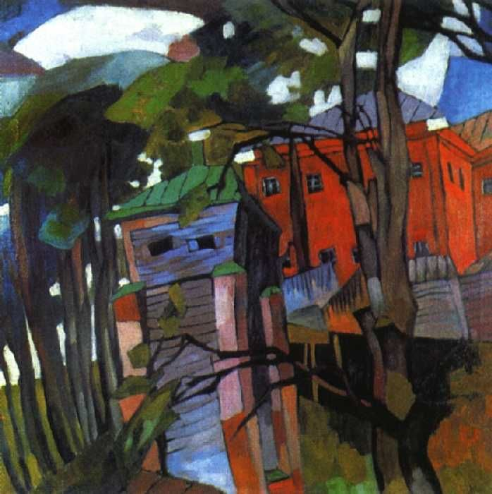 Landscape with a red house by Aristarkh Lentulov #cubofuturism