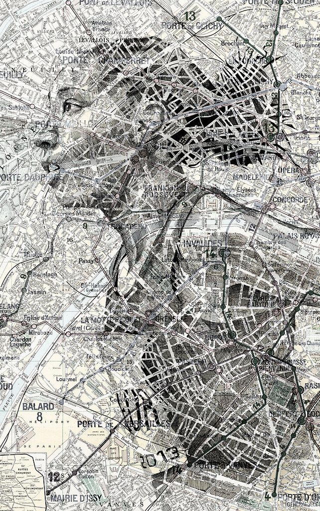 Portrait Artist Ed Fairburn Uses Maps as His Canvas | Hi-Fructose Magazine. Fairburn's work is an imaginative incorporation of the human form and topography. He's used maps of places from all over the world. The winding layouts of streets and rivers are enhanced to form wrinkles, veins, and other features of his subjects' faces.