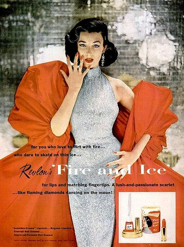 """Dorian Leigh in famous Revlon """"Fire and Ice"""" ad, dress by Bovè of Rose Schogel, ring by John P. John, photo by Richard Avedon, 1952"""