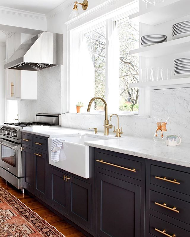 "Working on a dark kitchen + loving the combo of dark lowers and white uppers.  And picked some ""New to @Nordstrom"" favorites on Beckiowens.com.  Design @elizabethlawsondesign"