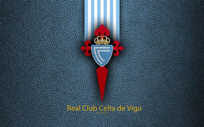 Download wallpapers Celta de Vigo FC, 4K, Spanish football club, La Liga, logo, emblem, leather texture, Sevilla, Spain, football