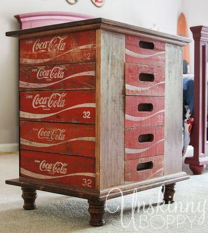 diy nightstands vintage coke crates coca cola, bedroom ideas, diy, repurposing upcycling, rustic furniture