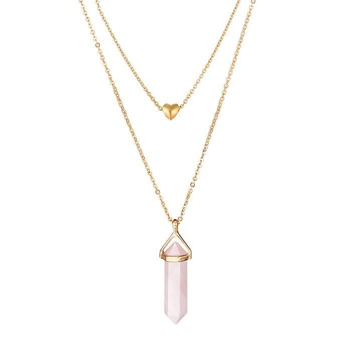 Pink Hope Rose Quartz Amulet Layered Necklace Layered Necklaces Trending Necklaces Rose Quartz