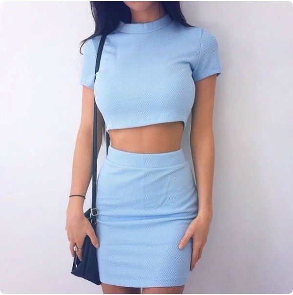 93b5371cd There are 2 tips to buy dress, two-piece, blue dress, blue skirt, blue,  light blue, mini skirt, bodycon, outfit, turtleneck, cute, cute top, top,  crop tops, ...