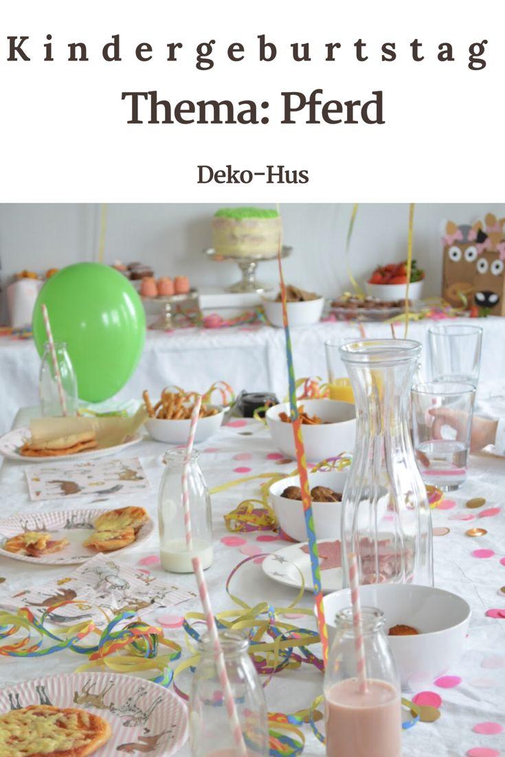 Mottoparty Kindergeburstag Kinderfest Party Thema Pferd Pferdliebhaber mit Luftballongirlande Buttercreme Torte Minimuffins und Minigugelhupf Tüten in Pferdeform und Einladung