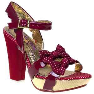 Irregular Choice Ariel's Treasure Red Polka dot Sandals 50s style