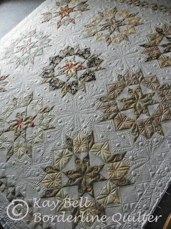 Oh my! Incredible quilting. Gold and bronze neutral colors. Swoon. Love it!  Quilts by FGFheadhonker