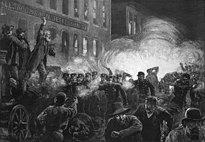 The Haymarket affair (also known as the Haymarket massacre or Haymarket riot) was the aftermath of a bombing that took place at a labor demonstration on Tuesday May 4, 1886, at Haymarket Square[2] in Chicago.