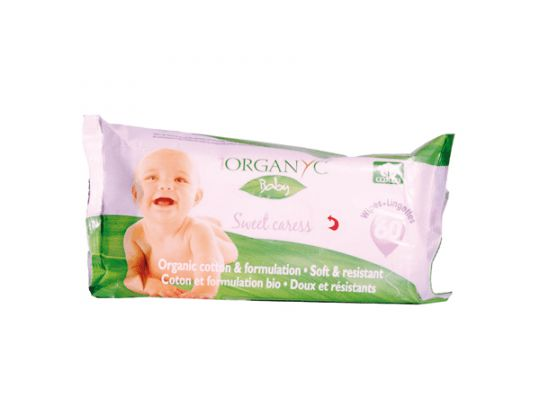 ORGANYC- Toallitas húmedas de bebé orgánicas 60 unidades.  Composición: Agua, 80 %, coco-gluolide 0,5-1%, glicerina natural 0,3-6%, extracto de flores y hojas de camomila matricaria 0,05-4%), extracto de caléndula oficilis, 0,5-0,2%, ácido láctico. Algodón Orgánico.