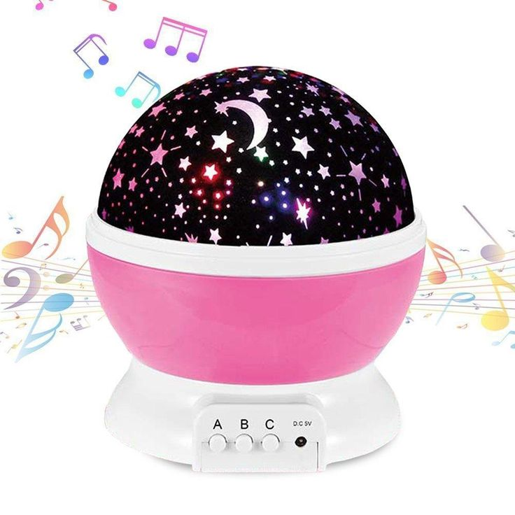 Music Night Light Projector Lamp Baby Star Projector 360 Degree Rotating 9 Multicolor Changing With Rechargeable Battery,12 Soft Light Music for Relax and Sleep,Unique Lamp for Kids...