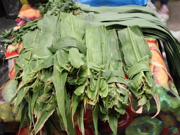 Fresh Corn Leaves for Corundas:  Market Scene: Mercado San Juan in Morelia, Mexico