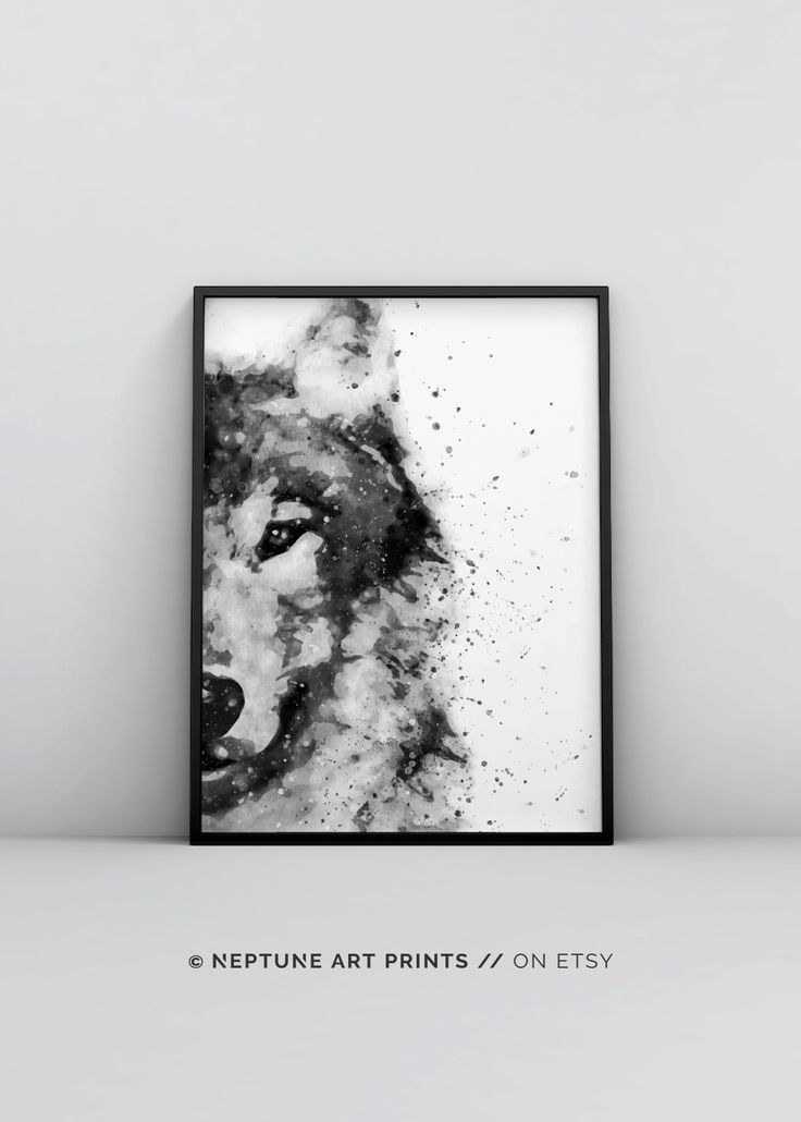 Wolf watercolor printable abstract animal print black and white watercolour digital download woodland decor forest animal modern poster