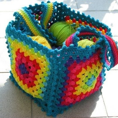 crochet your own granny square yarn basket-if I could crochet lol