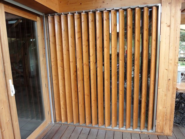 Vertical wood louvers.