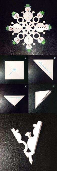 flocons de neige inhabituelles sur papier
