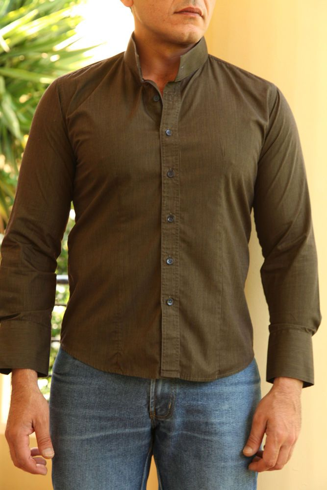 Tailor Made Shirts, Colarless, 3 Shirts Offer. Olive Green, Pink, Light Gray #Handmade #Colarless