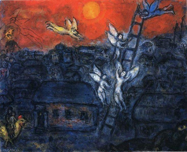 Марк Шагал -  Лестница Иакова  (1973) - Открыть в полный размер