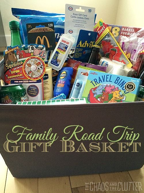 Family Road Trip Gift Basket - what a great gift idea! Gift basket Ideas #giftbasketideas #giftbaskets