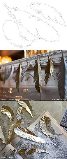 Перья из бумаги для праздничной гирлянды и украшения елочки. ШАБЛОНЫ ПЕРЬЕВ.