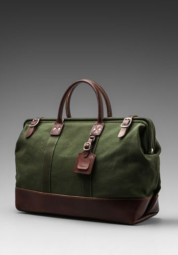 Accessories: Carryall in Olive With Brown - Canvas Bag.