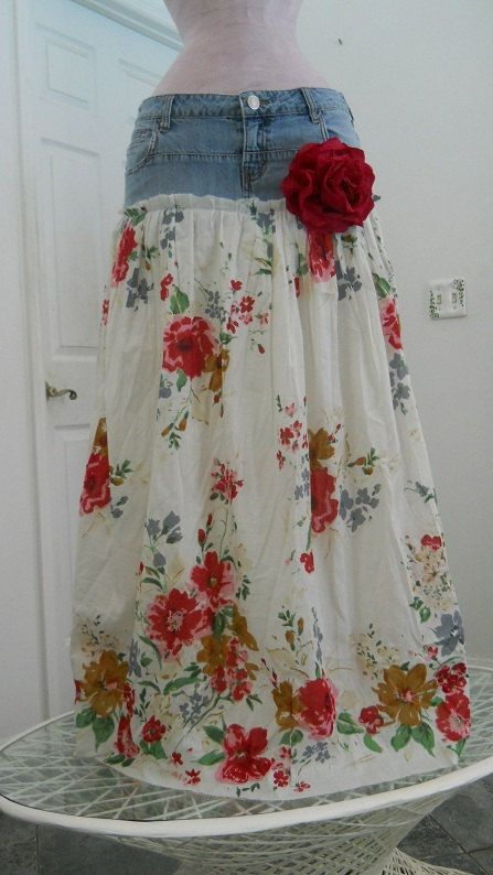 RESERVED Belles Roses bohemian jean skirt by bohemienneivy on Etsy