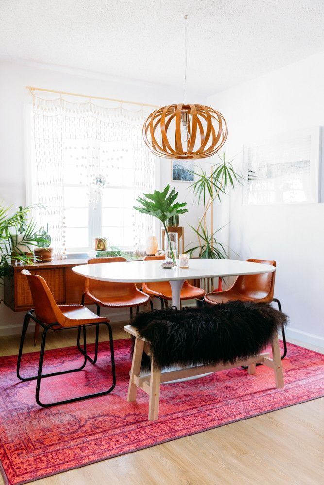 Tour A Bright Boho Chic New Jersey Home Designed On Budget Pink Dining RoomsDining