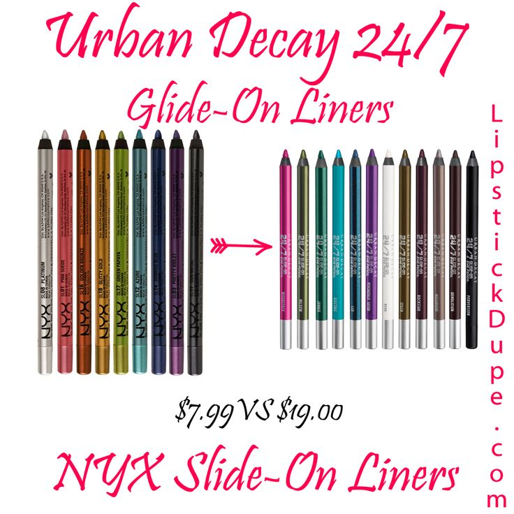 Urban Decay 24-7 Glide On Liner Dupe NYX Slide-On Liners $7.99 vs $19.00 #dupe #Dupes www.lipstickdupe.com