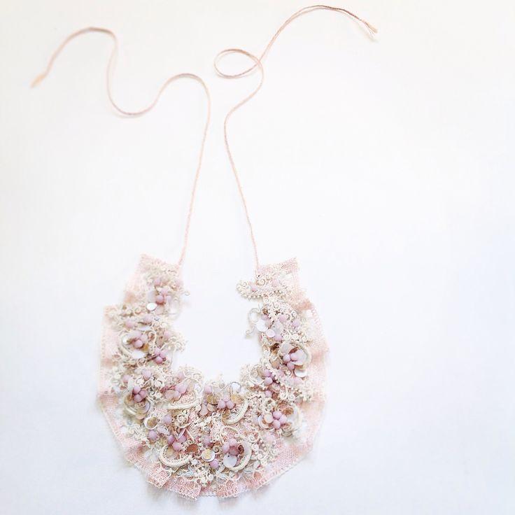 Pink lace necklace Emma Cassi jewellery