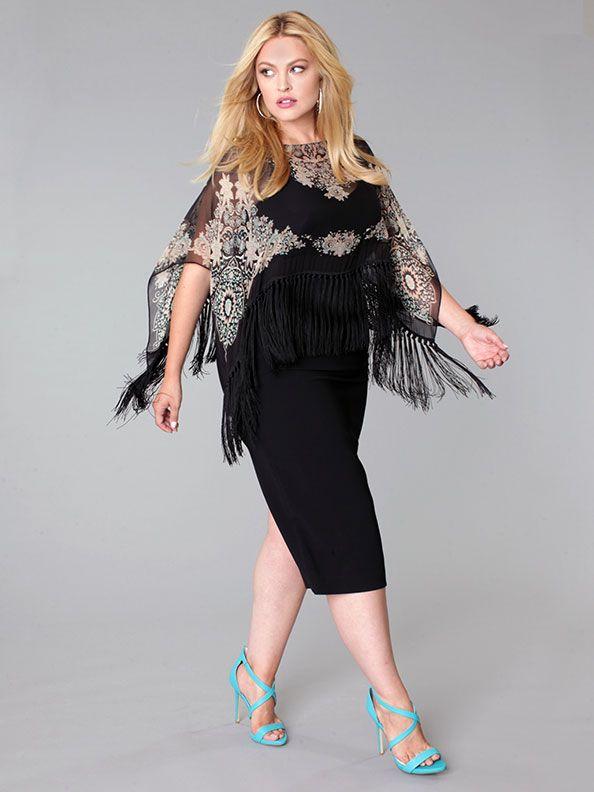 Fall 2015 Plus Size Lookbook - Marina Rinaldi dress with printed silk fringed poncho. Available at Toni Plus, www.toniplus.com