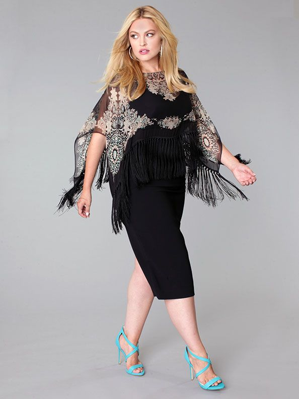 Fall 2015 Plus Size Lookbook - Marina Rinaldi dress with printed silk fringed poncho.  Available at Toni Plus, www.toniplus.com