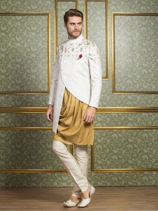 1866ab82 Silk White And Mustard Indo Western, mens fashion, fashion for men ...