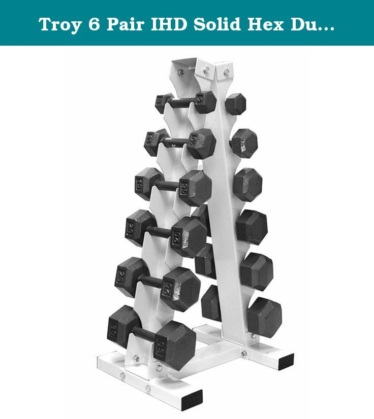 """Troy 6 Pair IHD Solid Hex Dumbbells with """"A"""" Frame Rack. Includes 6 Pairs Plus Rack: (2) 5 lb. Dumbbells (2) 10 lb. Dumbbells (2) 15 lb. Dumbbells (2) 20 lb. Dumbbells (2) 25 lb. Dumbbells (2) 30 lb. Dumbbells (1) Two Sided """"A"""" Frame 6-Pair Dumbbell Rack Specs: Handle Grip Size: 27 mm Handle Length: 5"""" Distance Between Heads: 5"""" Rack Dimensions: 20"""" (L) x 15.75"""" (W) x 38"""" (H) Rack Weight: 33 lbs."""