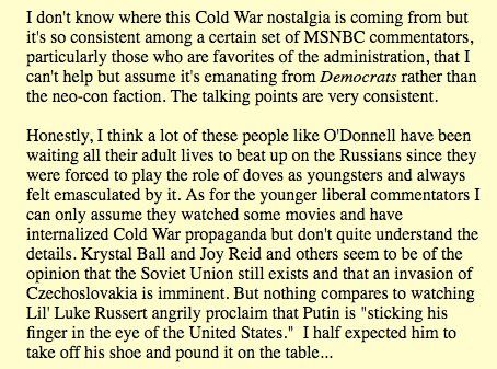 """This was a great @Digby56 post from 2013 on """"Cold War nostalgia"""" from certain Dem factions http://digbysblog.blogspot.com.br/2013/08/lawrence-odonnell-is-mad.html …@GreenwoodExpTUL/BlackWallStreet on Twitter"""