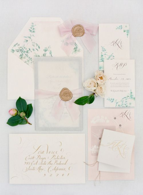wedding invitations - blush, classic, calligraphy
