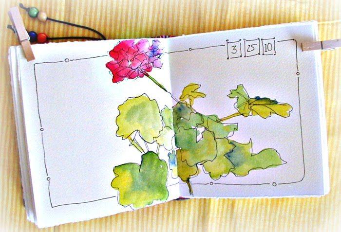 Watercolor Journaling Class | Geranium Watercolor Sketch
