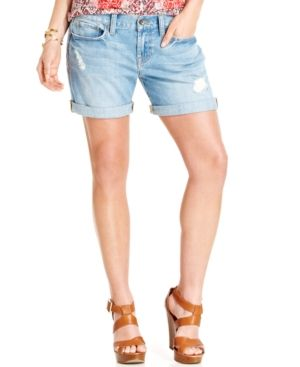 $69, Lucky Brand Laguna Distressed Denim Shorts by Lucky Brand Jeans. Sold by Macy's. Click for more info: http://lookastic.com/women/shop_items/94561/redirect