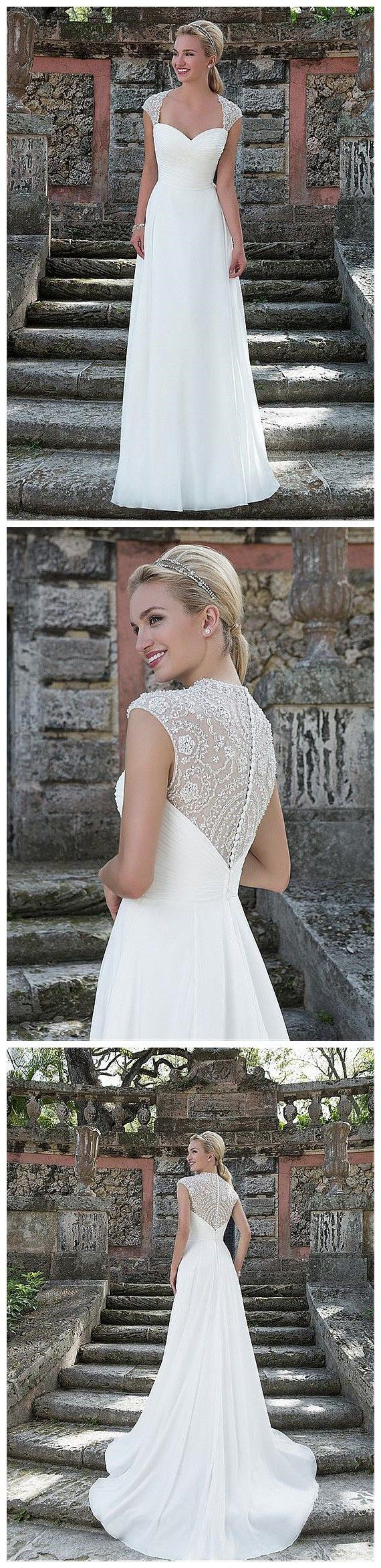 Brilliant Tulle & Chiffon Queen Anne Neckline A-line Wedding Dresses with Beaded Embroidery