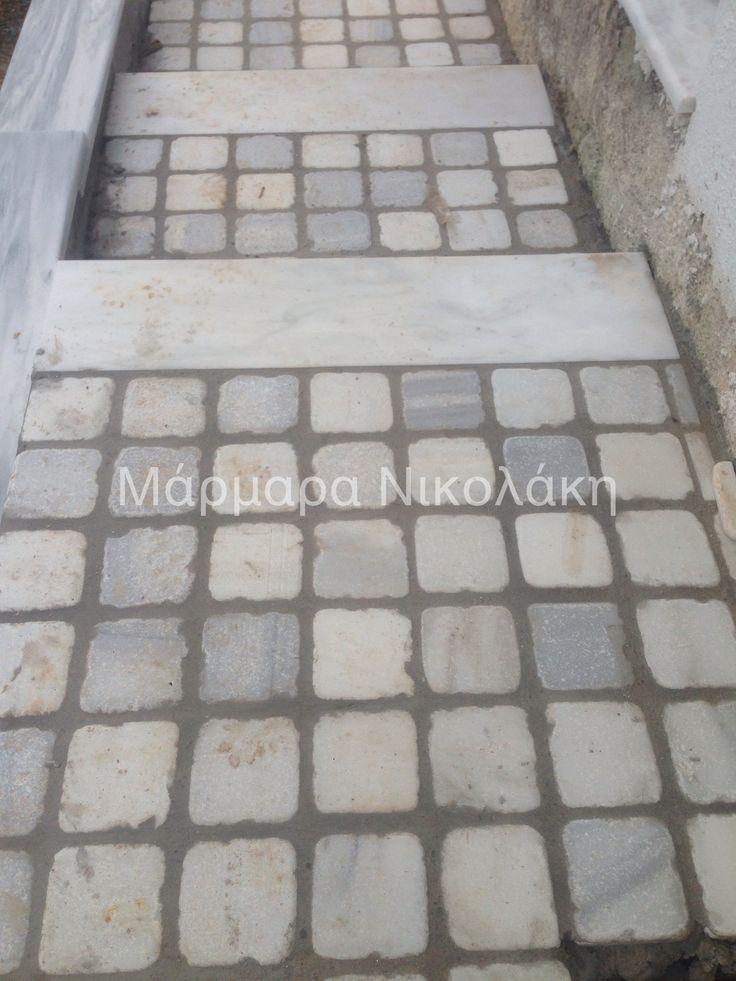 Flooring with various Greek marbles 10*10cm - Δαπεδόστρωση από διάφορα μάρμαρα μεγέθους 10*10 cm