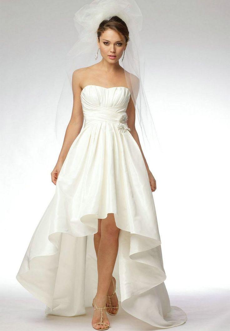 Satin Strapless Sweetheart A Line Elegant High Low Wedding Dress