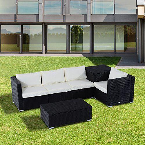 Brighton 6pc Corner Sofa Outdoor Rattan Set: Outsunny 6PC Rattan Corner Sofa Set Wicker 4 Seater Garden