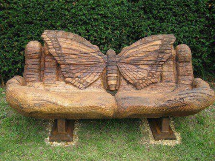 Beautifully carved bench
