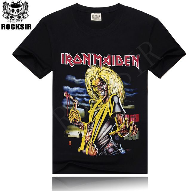 ROCKSIR vente Chaude 100% coton hommes de T-shirt noir t-shirt hommes iron maiden rock t-shirt livraison gratuite