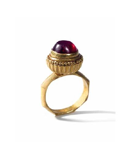 Ring with a garnet cabochon.    Gold and garnet.  Byzantine,  ca. 6th – 7th century A.D.